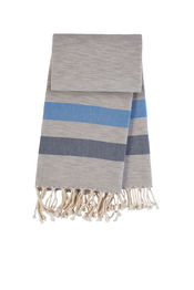 Bekijk Hamamdoek Cool - Grey melange-Royal blue-Navy blue van Mocco