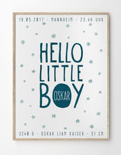 Babyposter Hello Little Boy von Printcandy