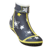 Bekijk Beachsocks star grey yellow front van Duukies Beachsocks
