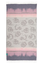 Hammamdoek Graphic Dragon - Dark Blue-Pink  van Mocco