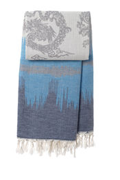Hamamtuch Graphic Dragon - Indigo blue-Dark turquoi von Mocco