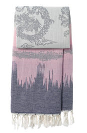 Hammamtuch Graphic Dragon - Dark Blue-Pink von Mocco