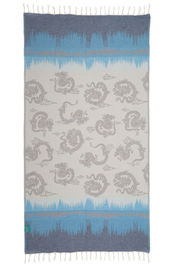 Hammamdoek Graphic Dragon - Indigo blue-Dark turquoi van Mocco